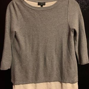 The Limited Grey Sweater with White Blouse